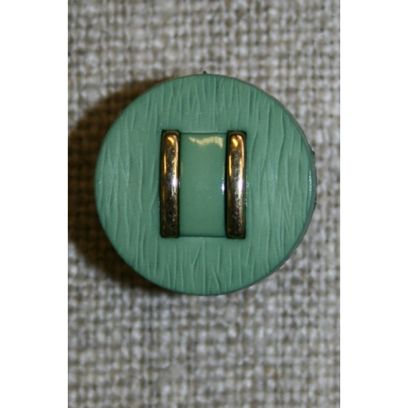Rund knap støvet grøn m/guld