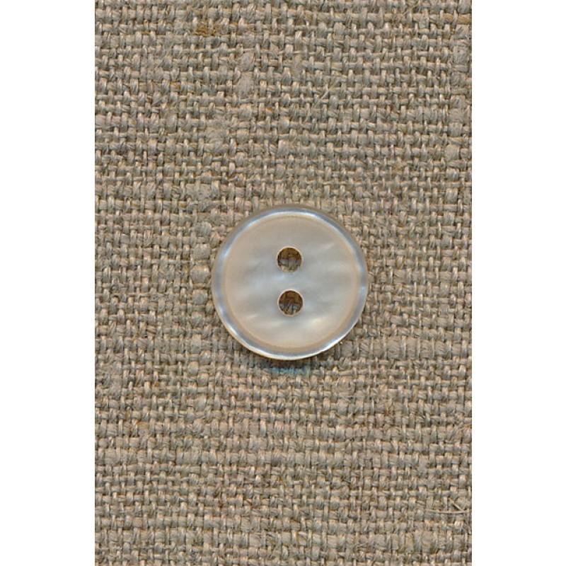 2-huls knap off-white, 14 mm.