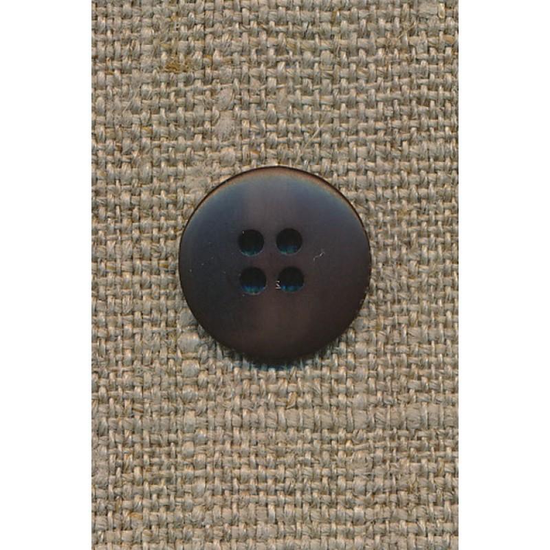 4-huls knap mørkebrun-meleret, 15 mm.-31