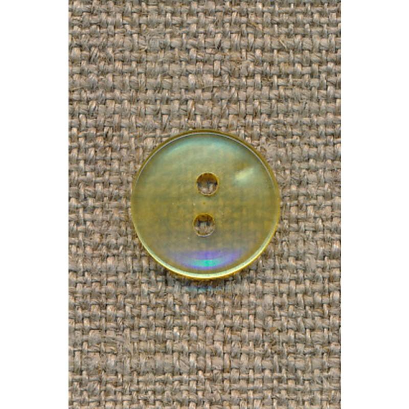 Lysegul klar 2-huls knap, 13 mm.