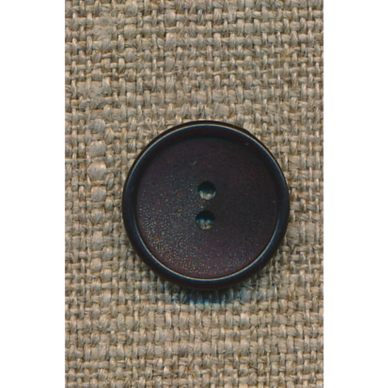 Mørkebrun 2-huls knap, 15 mm.-35