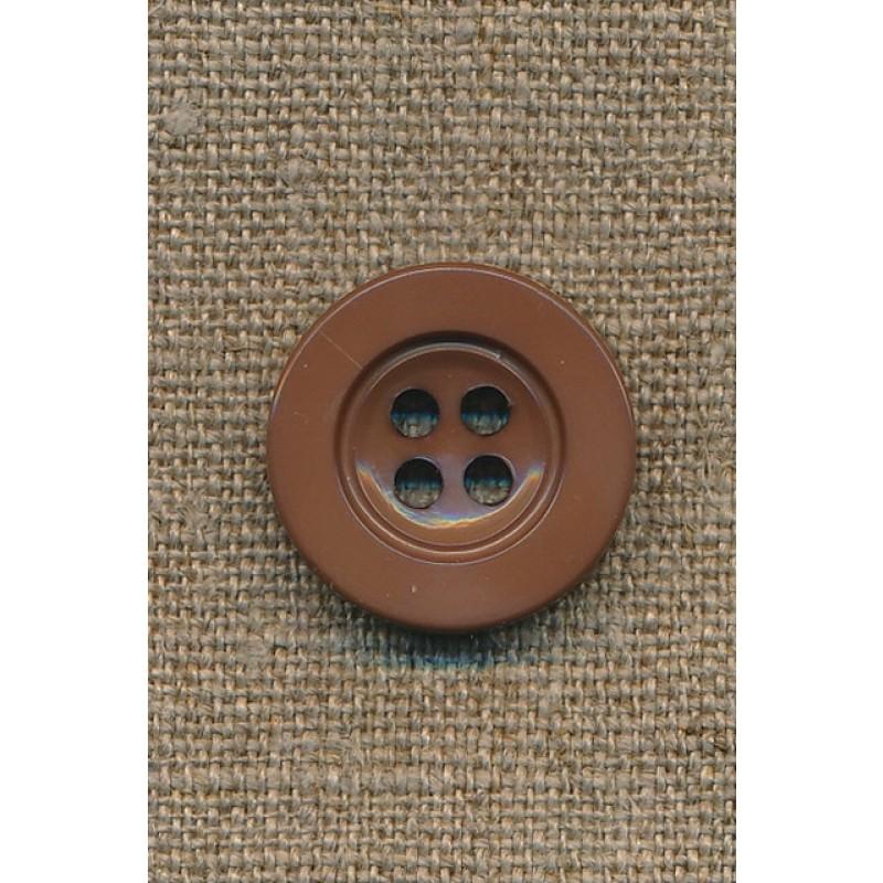 4-huls knap rød-brun, 22 mm.