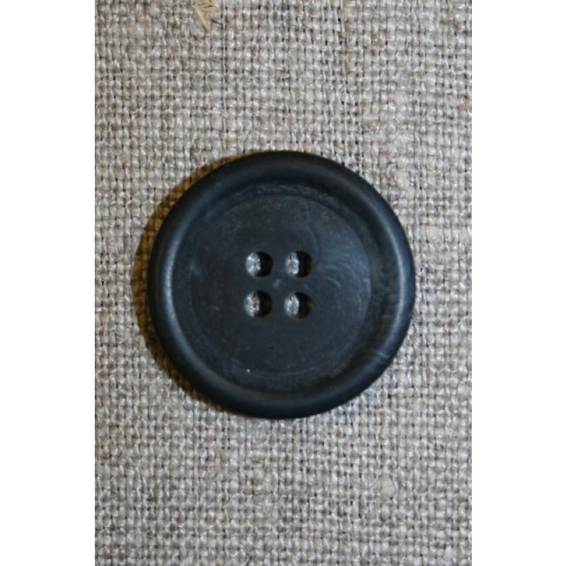 Mørkeblå let meleret knap, 22 mm.