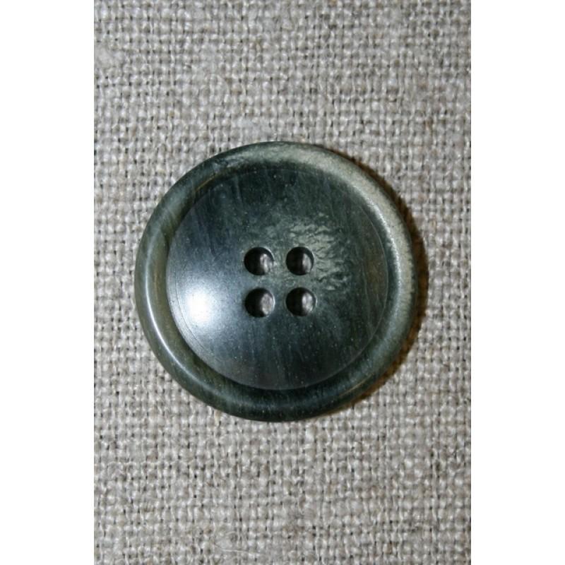 4-huls knap meleret grå-grøn 23 mm.