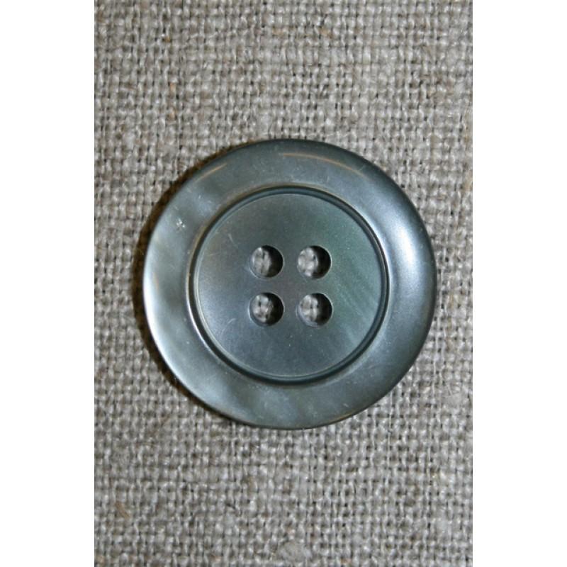 Blank grå-grøn 4-huls knap 23 mm.-33