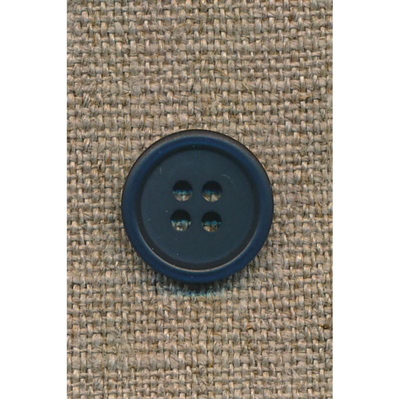 4-huls knap mørkeblå, 15 mm.-35