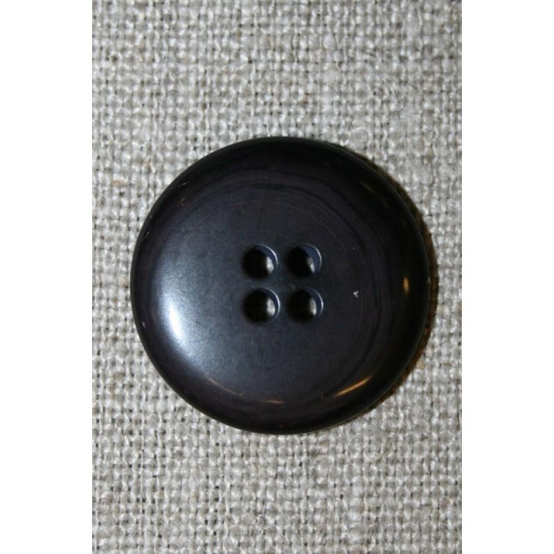 4-huls knap mørk grå-brun/koks, 22 mm.-35
