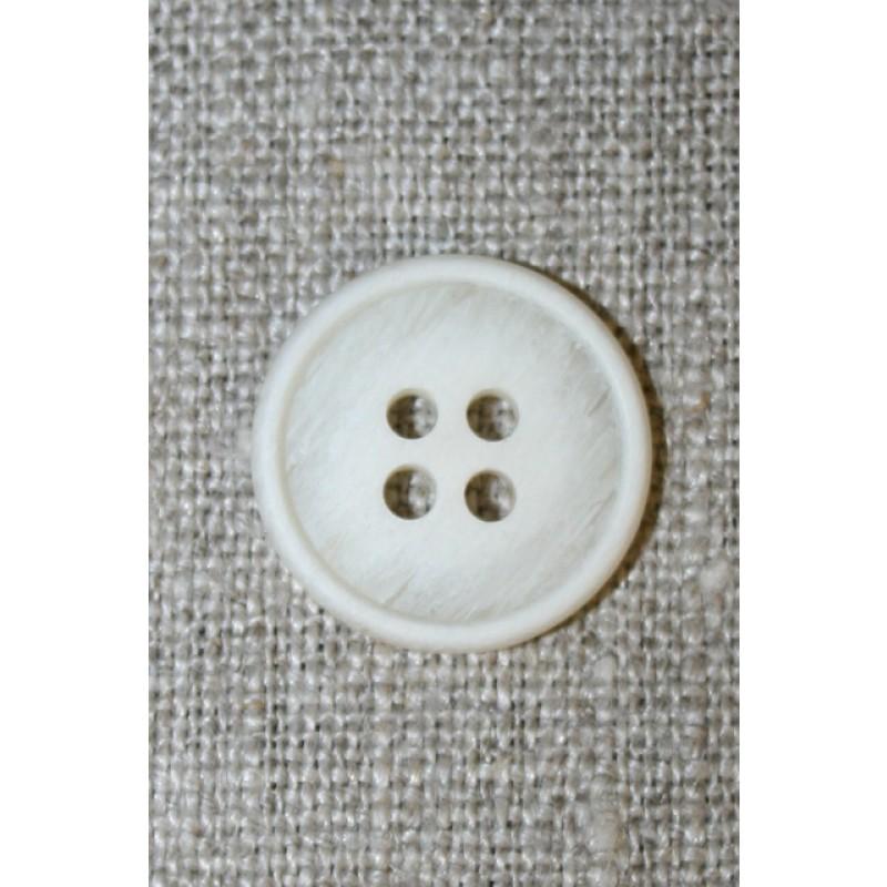 4-huls knap off-white/kit-meleret, 18 mm.