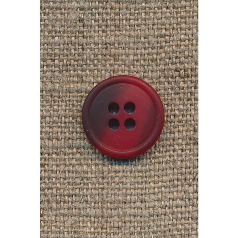 4-huls knap rød/mørkerød meleret, 15 mm.-33