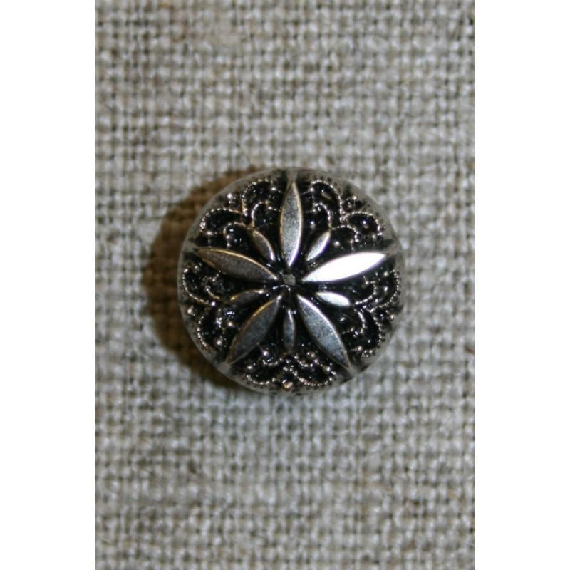 Rund knap m/blomst, sølv/sort, 13 mm.-31