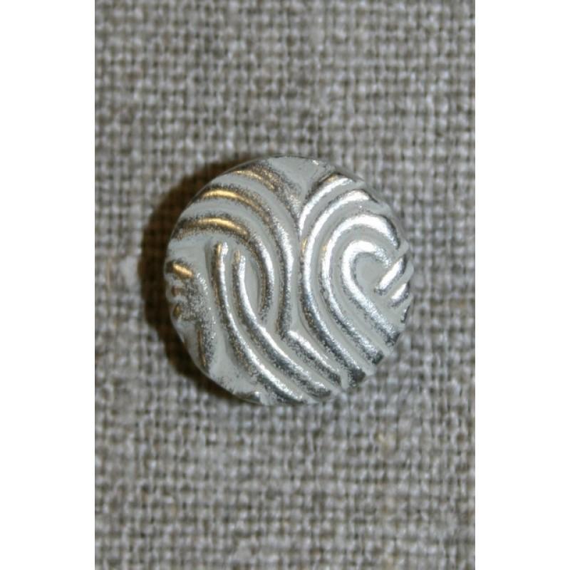 Rund knap mat sølv, 15 mm.