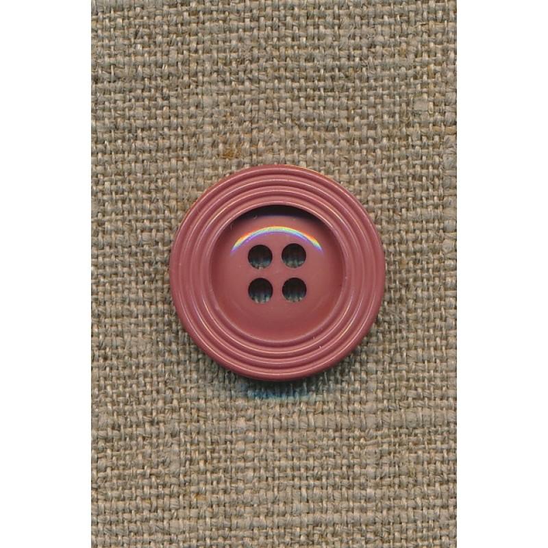 Pudder-brun 4-huls knap m/kant, 22 mm.
