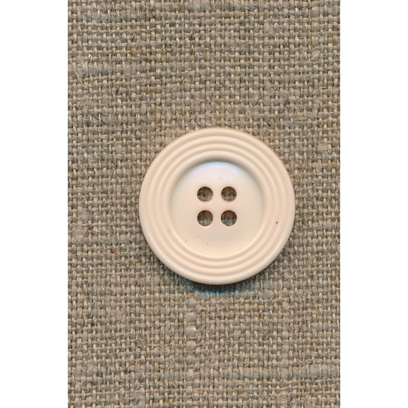 Off-white 4-huls-knap m/kant, 22 mm.-35