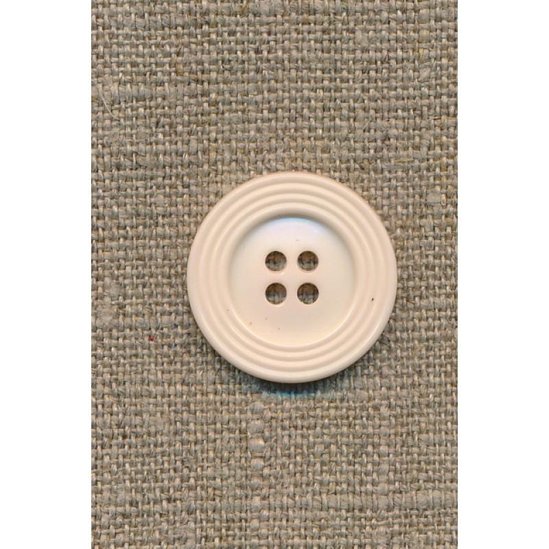 Off-white 4-huls-knap m/kant, 22 mm.