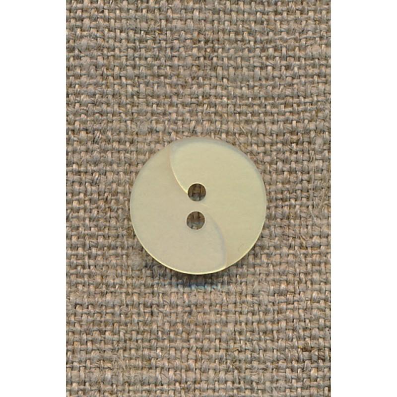 Lysegul knap m/drejet look, 15 mm.-35