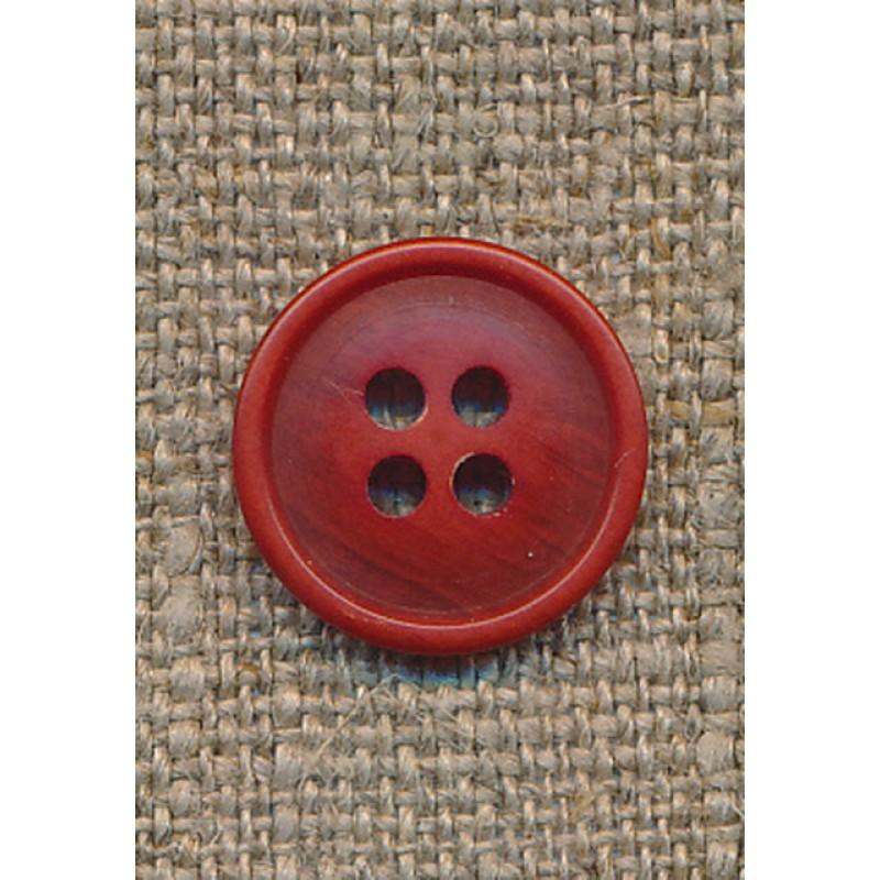 4-huls knap lys brændt orange-meleret, 15 mm.