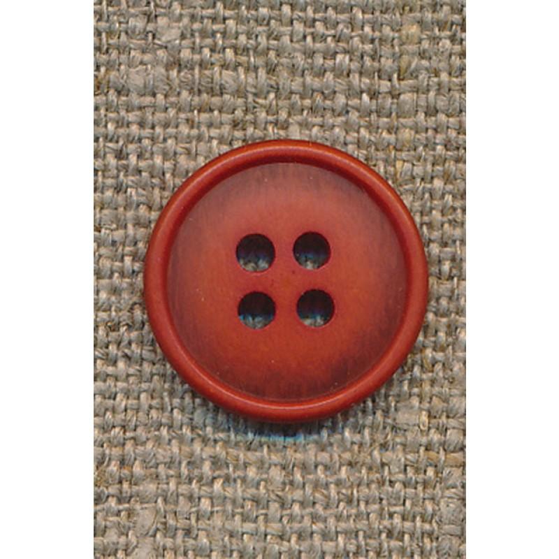 4-huls knap lys brændt orange-meleret, 18 mm.