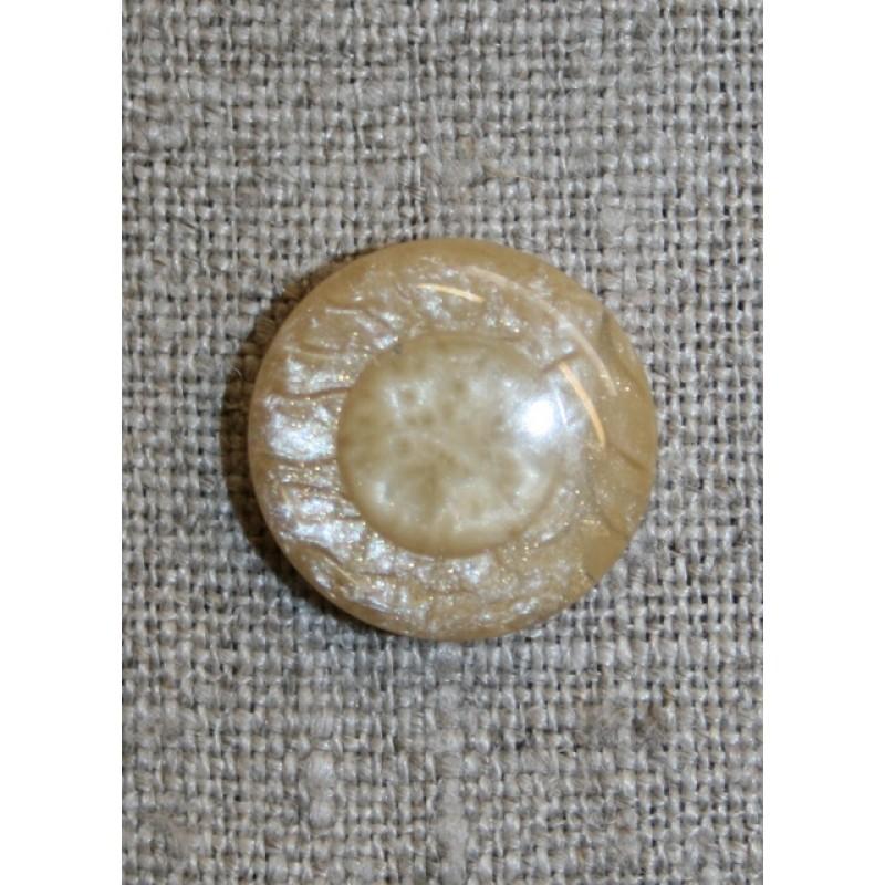 Rund beige blank knap, 18 mm.