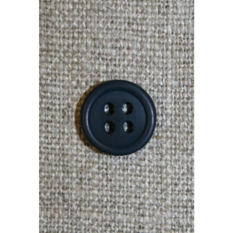 Lille mørkeblå 4-huls knap, 11 mm.