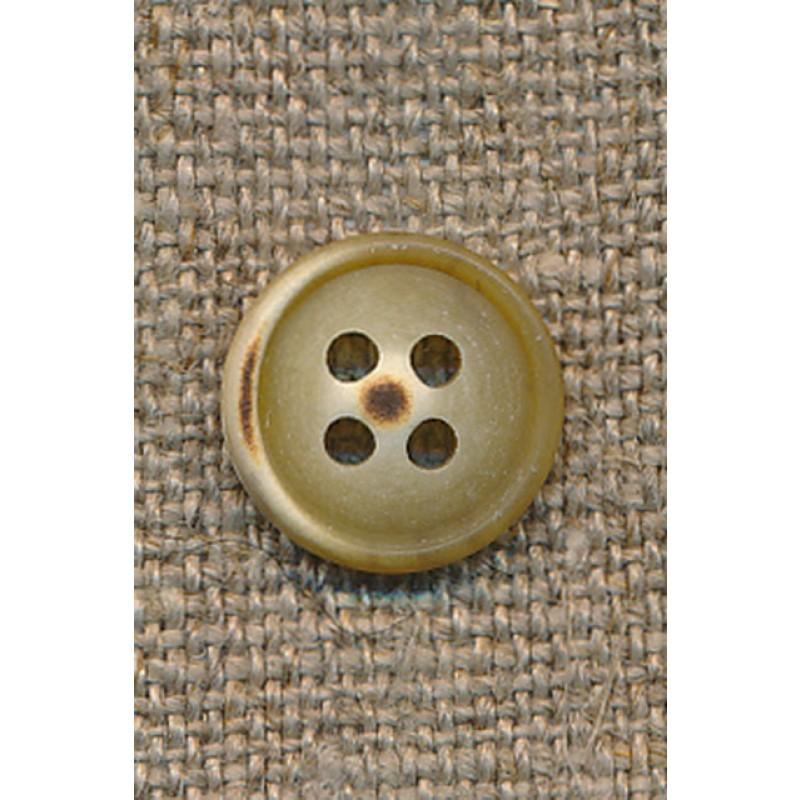 4-huls knap okker-lysebrun meleret 12 mm.-35