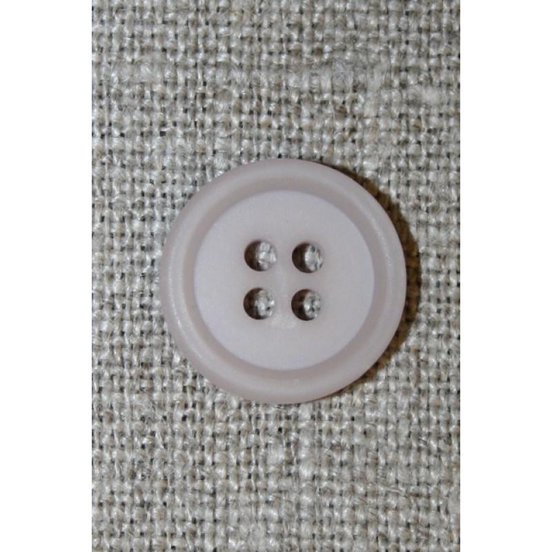 Lys grå-lilla 4-huls knap, 15 mm.-35