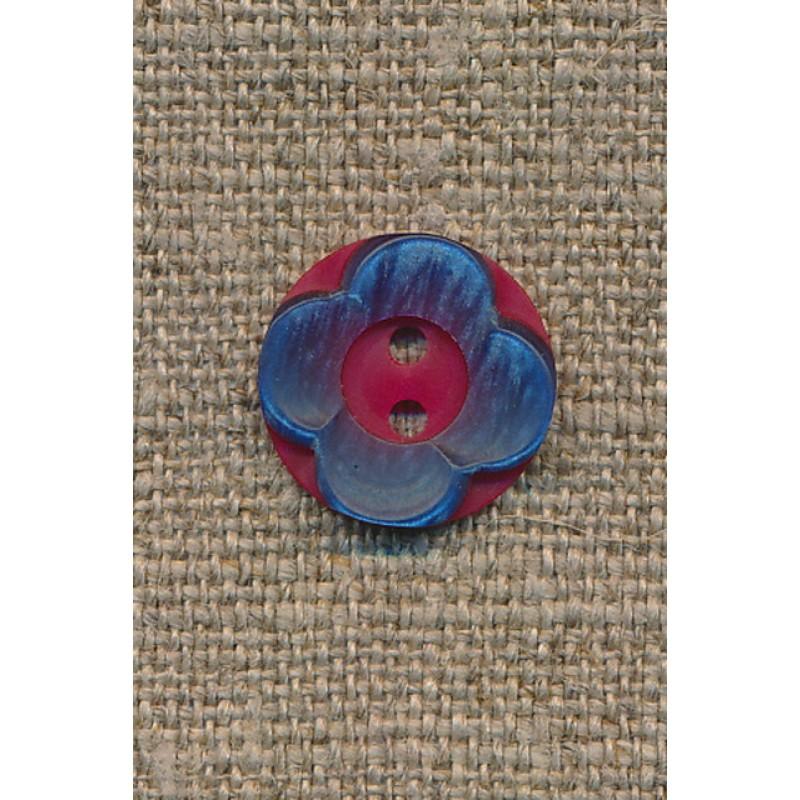 Blomster knap hindbærrød/blå-33
