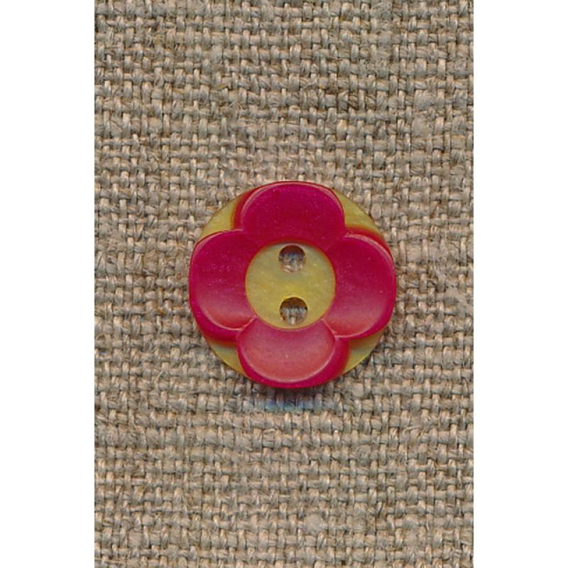 Blomster knap gul/rød-35