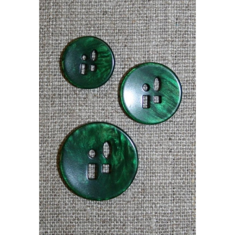 Meleret knap m/sjove huller i 3 str. grøn