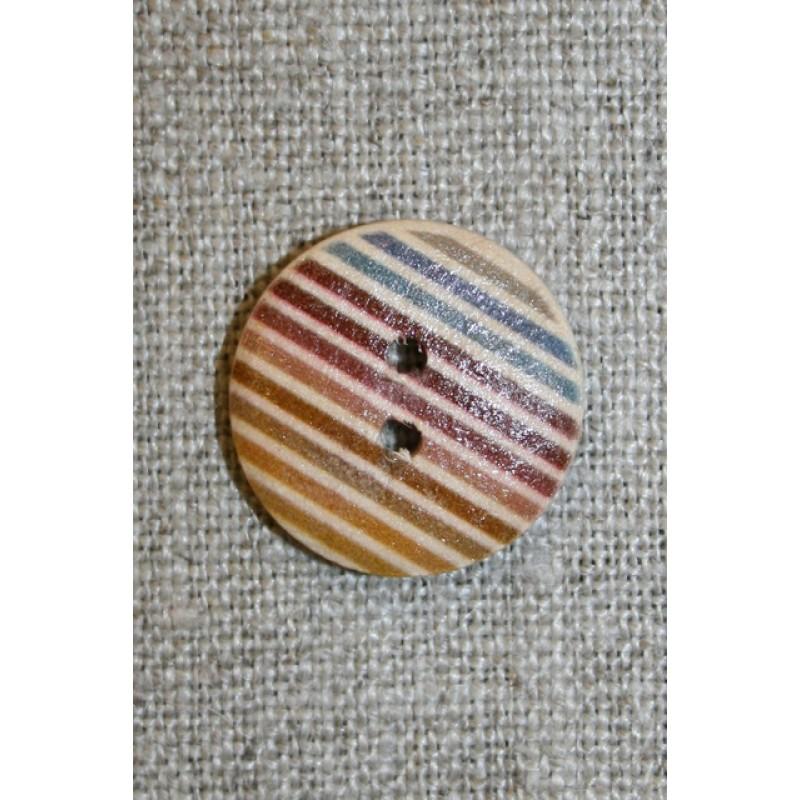 Træ-knap med striber 20 mm.-35