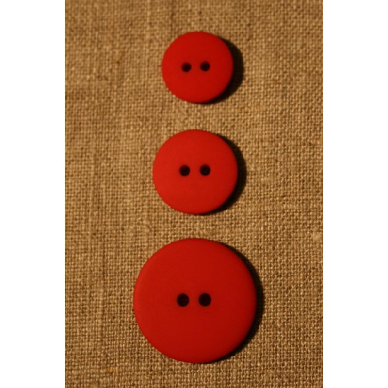Rød 2-huls knap, 18 mm.