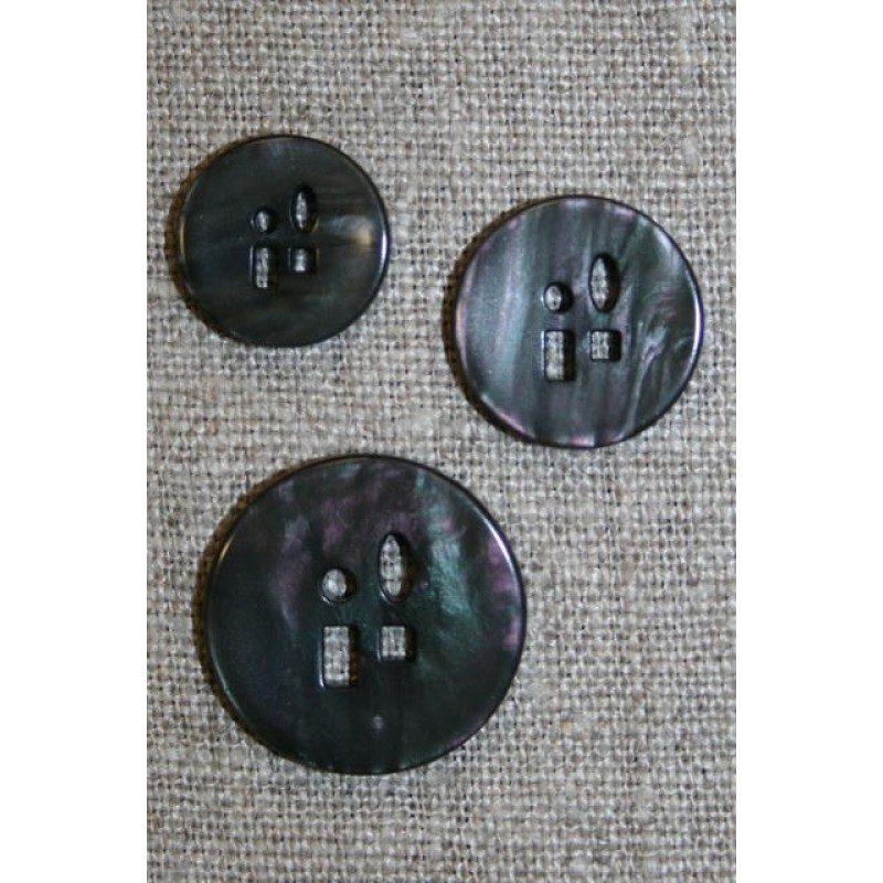 Meleret knap m/sjove huller i 3 str. grå