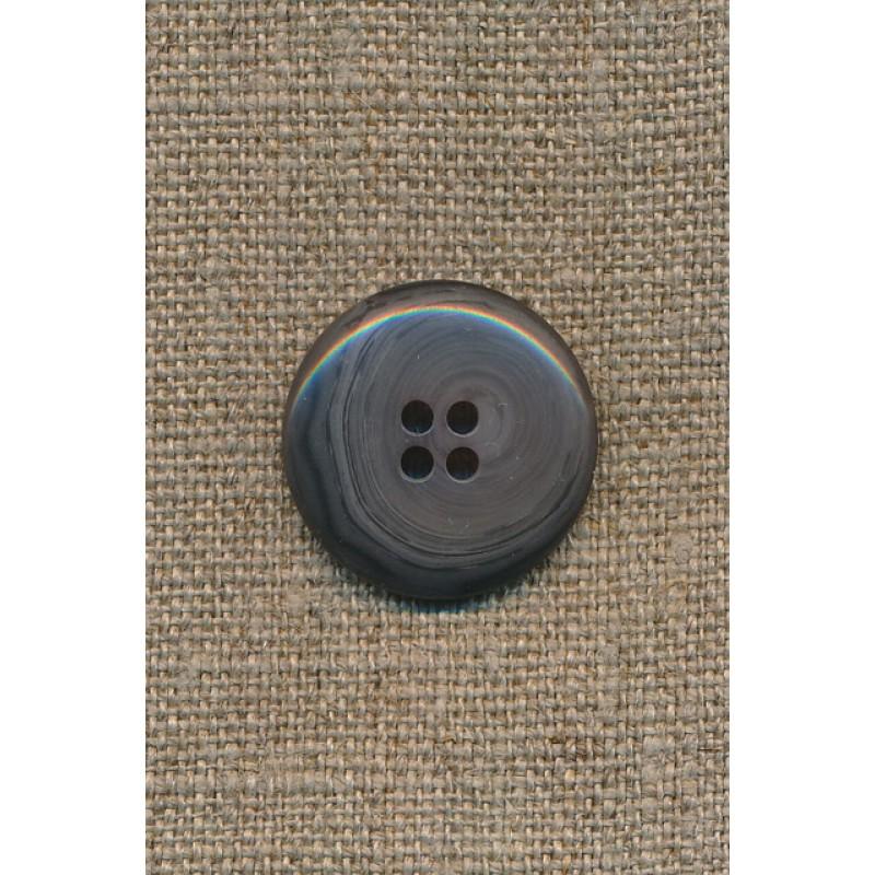 4-huls knap meleret grå/mørkegrå, 23 mm.