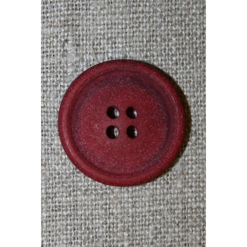 4-huls knap mørk rød granit-look, 23 mm.