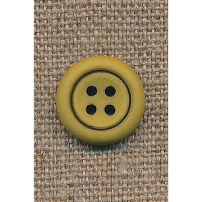 4-huls knap okker m/sort kant, 15 mm.
