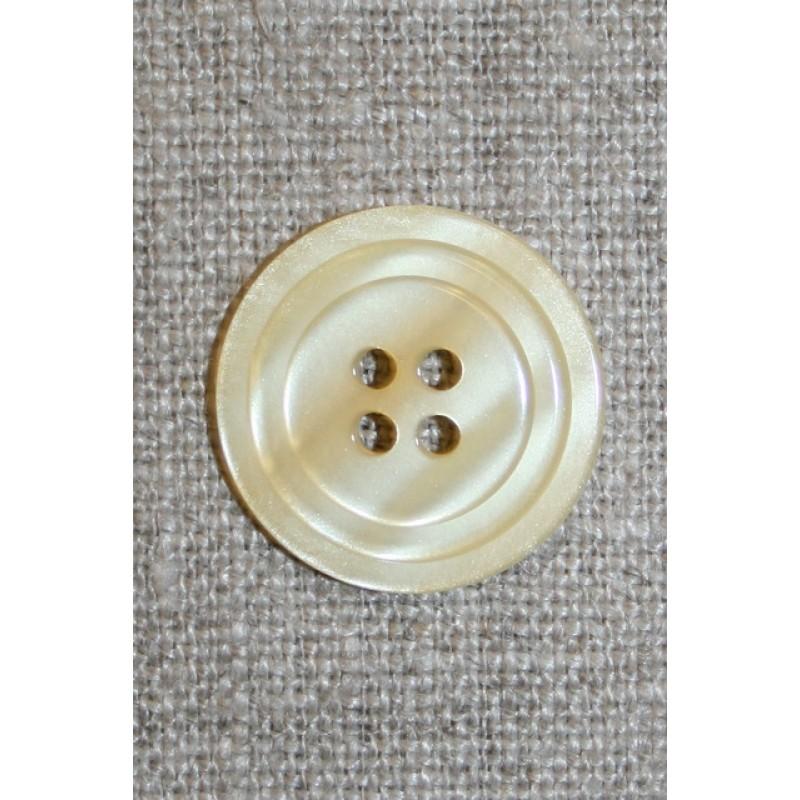 4-huls knap m/cirkel, lysegul 20 mm.-35