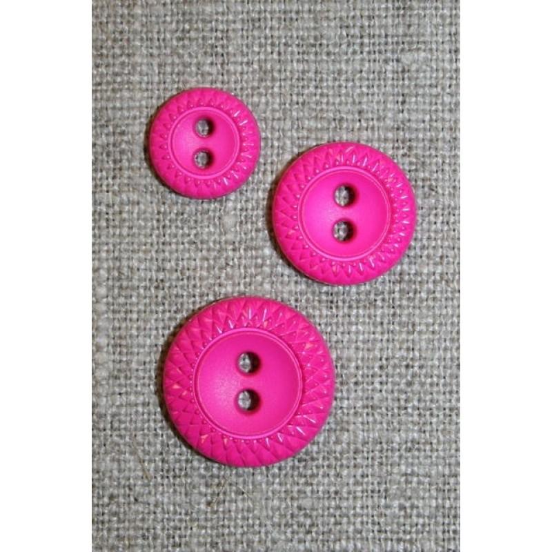 2-huls knap m/mønster-kant i 3 str. pink