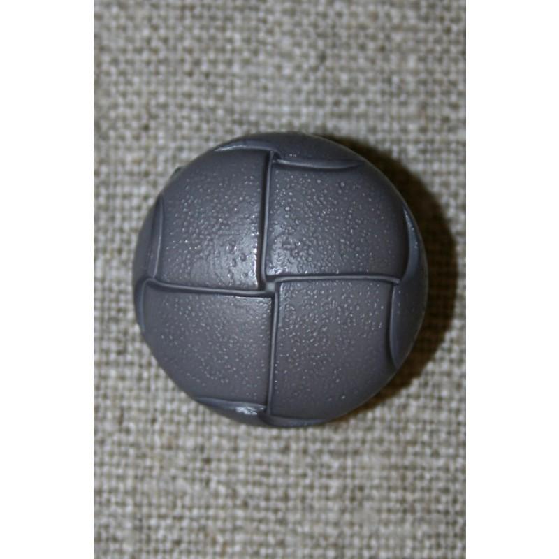 Skind-look knap grå 23 mm