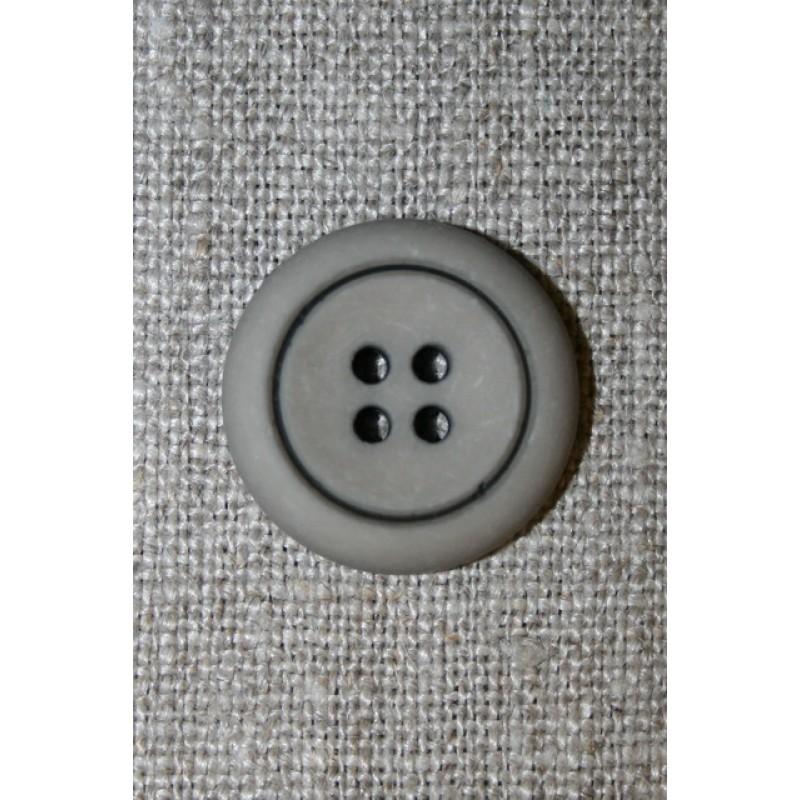 4-huls knap grå-brun m/sort kant, 23 mm.