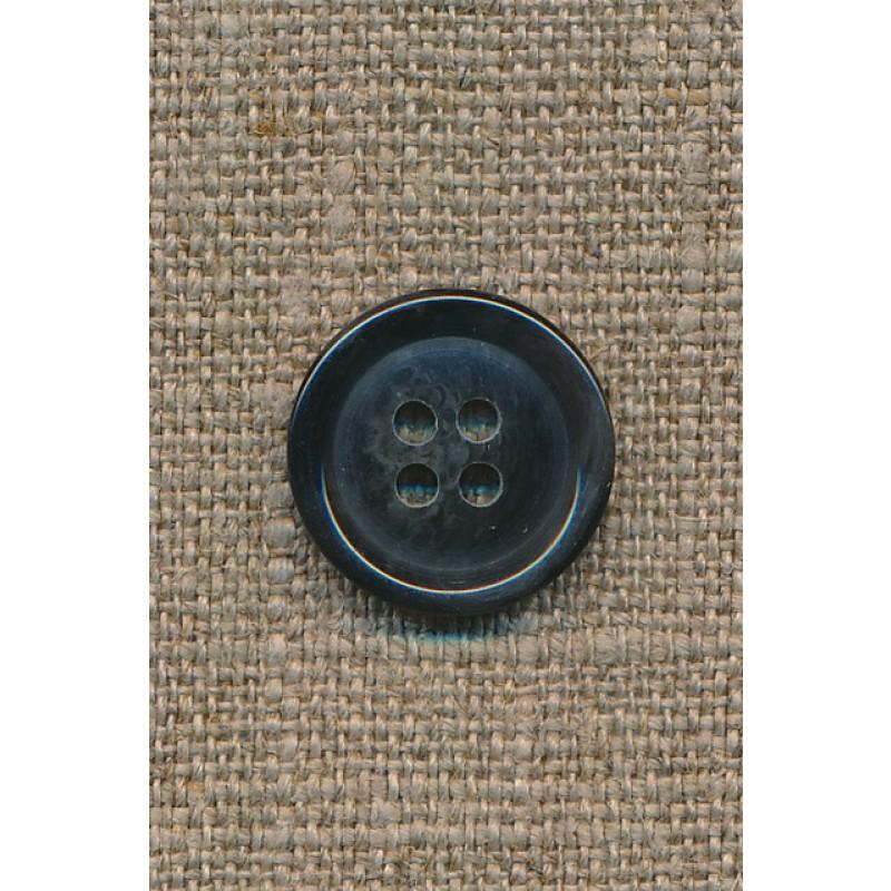 4-huls knap mørkeblå meleret, 18 mm.