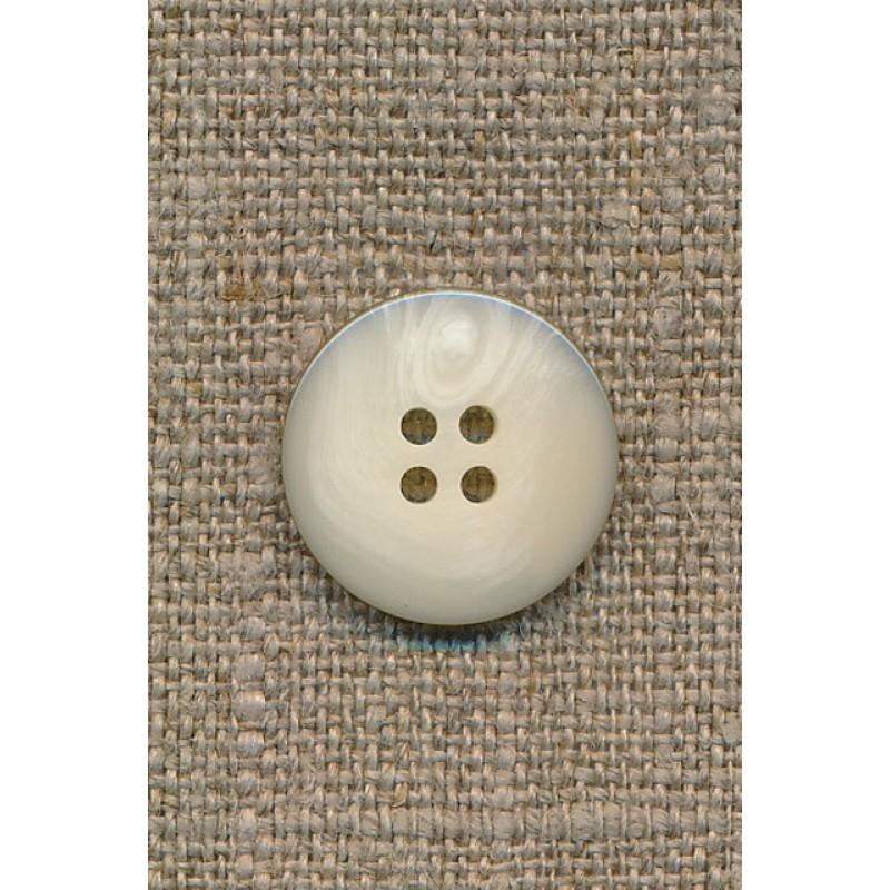4-huls knap i off-white perlomors-look m/sort kant, 18 mm.-31