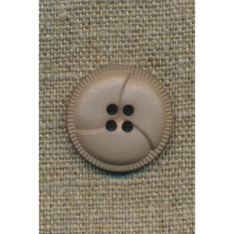 4-huls knap i læder-look, sand 23 mm.-35