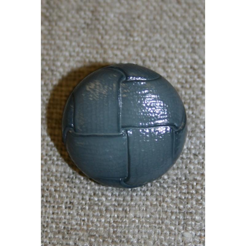 Læder-look knap mørk grå, 20 mm.