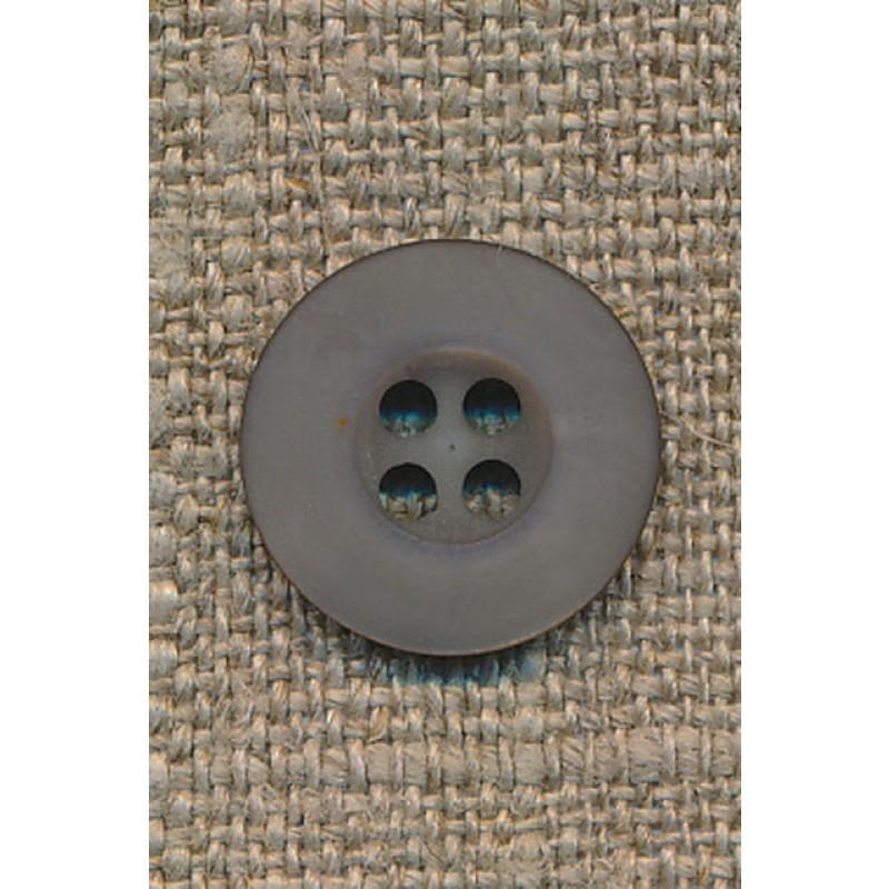 4-huls knap grå-brun, 15 mm.