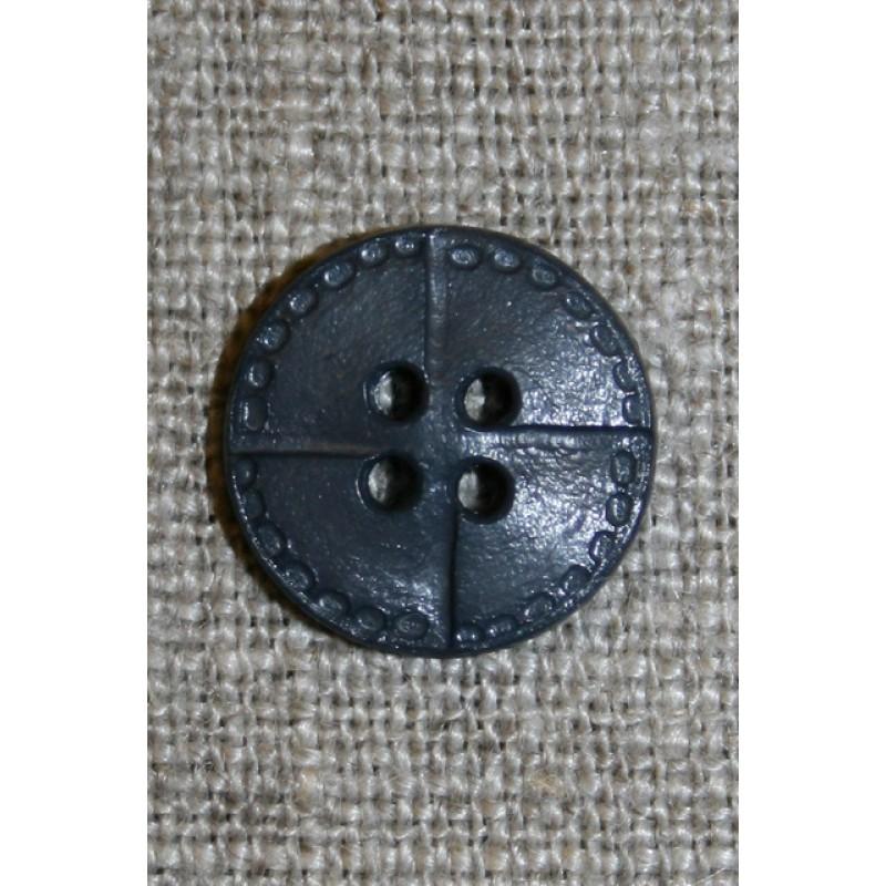 4-huls knap i læder-look, grå 15 mm.-35