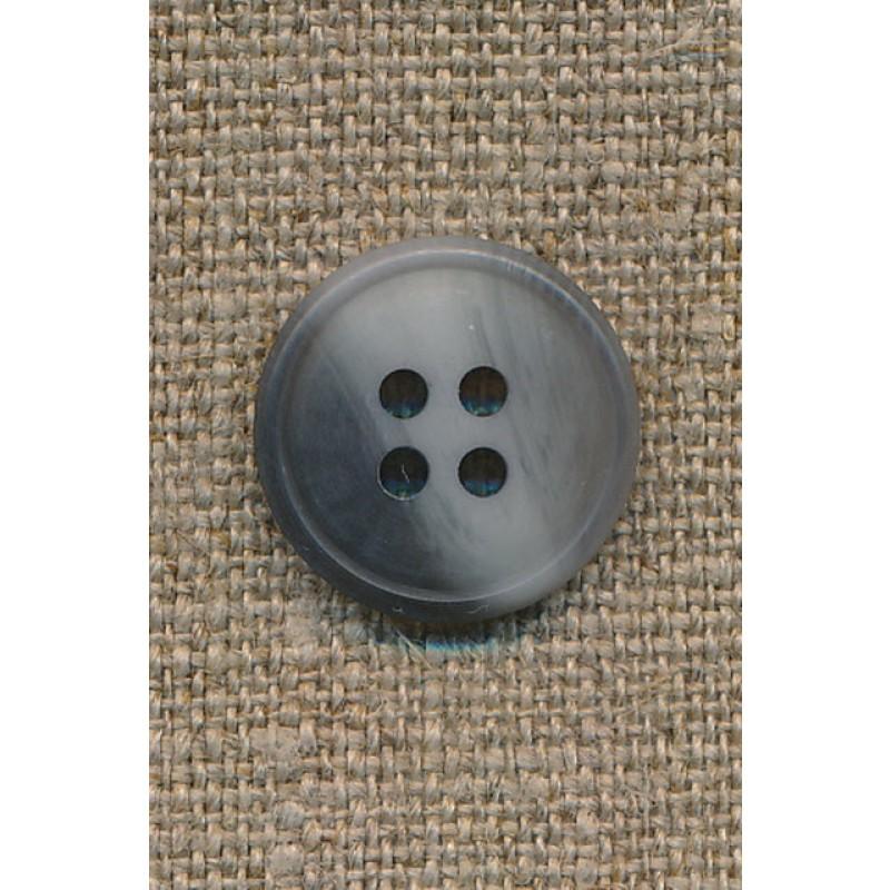 4-huls knap meleret grå/lysegrå, 17 mm.-35