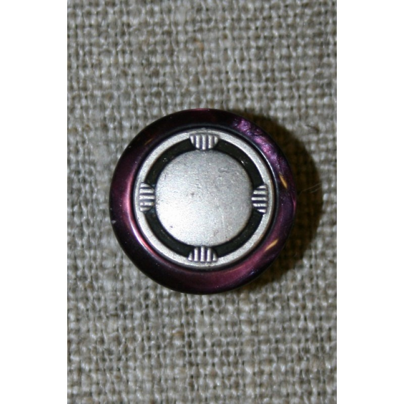 Lilla/gl.sølv knap 15 mm.