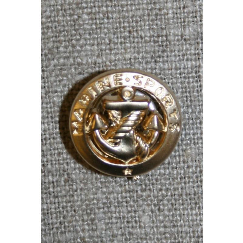 Guld knap m/anker, 18 mm.-35