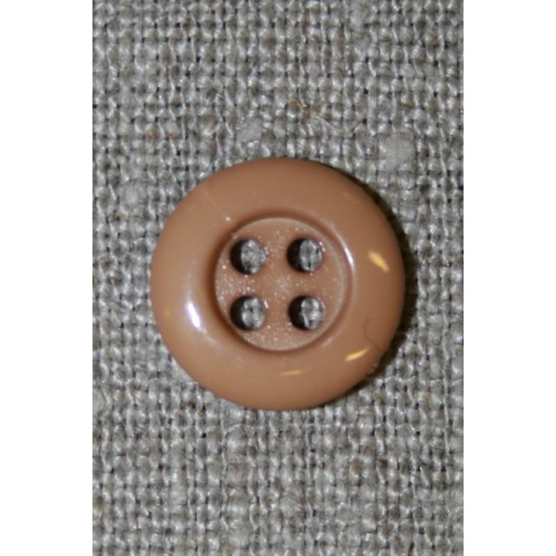 Lysebrun 4-huls knap, 14 mm.-35