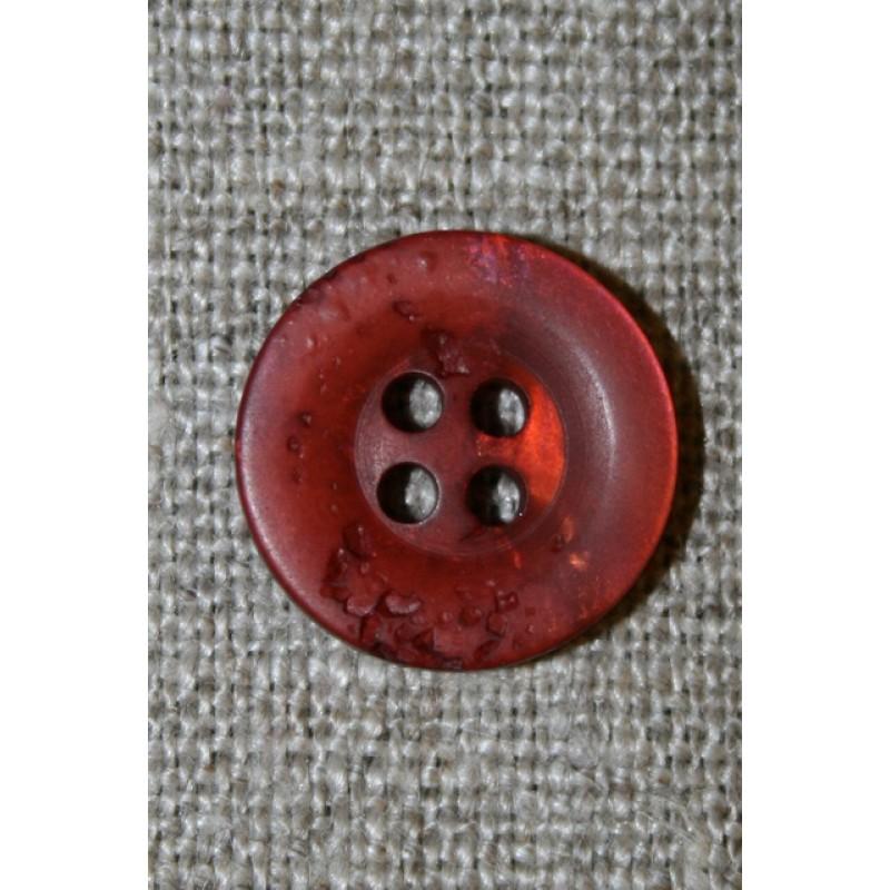 4-huls knap krakeleret brændt orange-rød, 15 mm.-35