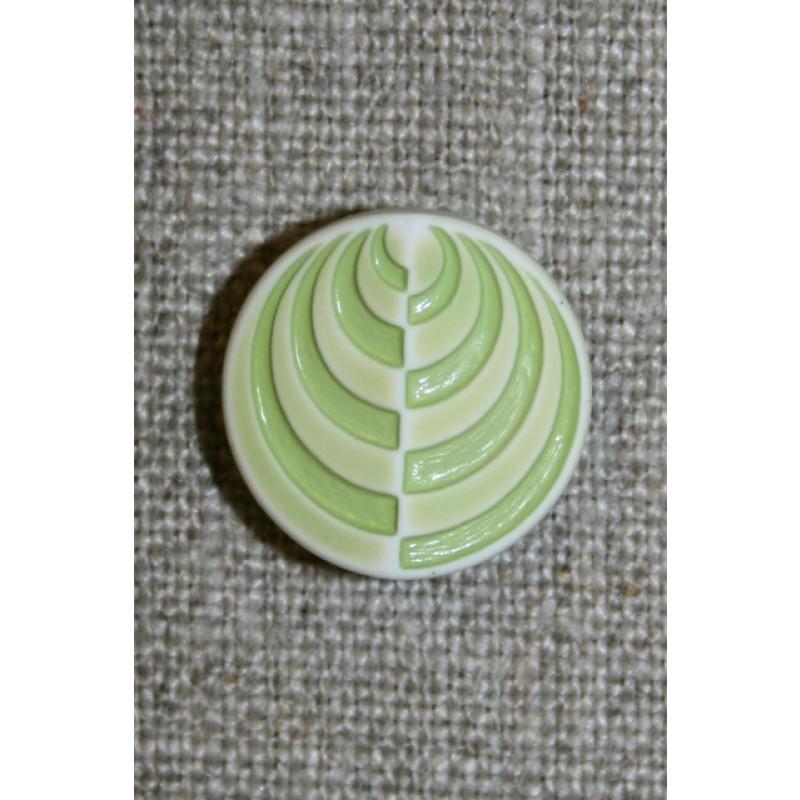 Lysegrøn/lime rund knap m/mønster, 18 mm.-31
